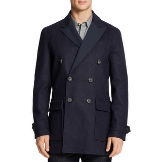 Hardy Amies Mens Reversible Wool Peacoat French Navy Small S