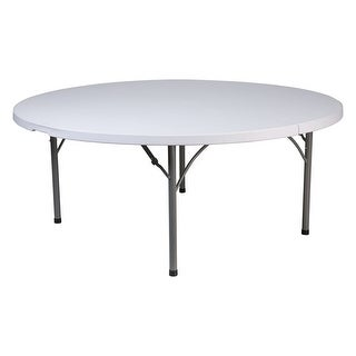 Offex 71'' Round Granite White Plastic Folding Table