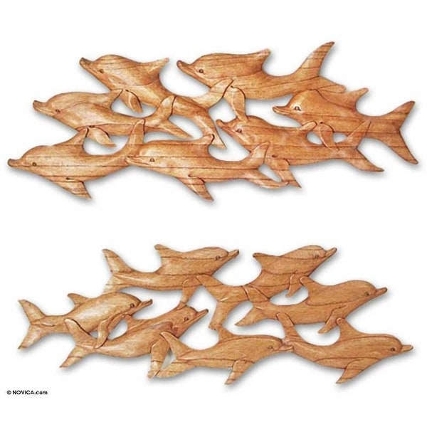 """Handmade Voyage Wood Wall Panels (Pair) Indonesia - 9.75"""" H x 28"""" W x 0.6"""" D. Opens flyout."""