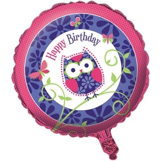 "Pack of 10 Owl Pal Pink and Purple Metallic ""Happy Birthday"" Foil Party Balloons"