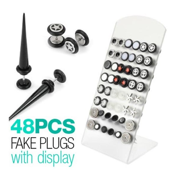 48 Pcs of Assorted Fake Plug & Taper with L-Stand Display Package