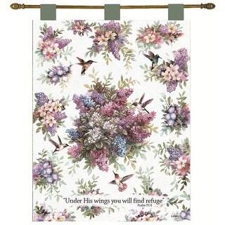"Lena Liu ""Hummingbird Garden"" Religious Verse Wall Art Hanging Tapestry 26"" x 36"""