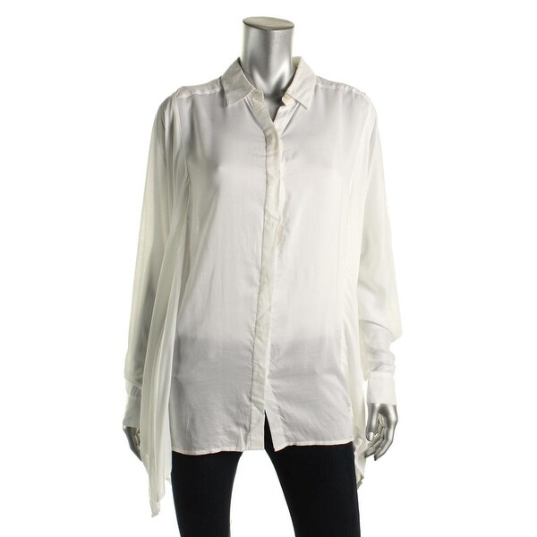Pure DKNY Womens Button-Down Top Oversized Side Slit