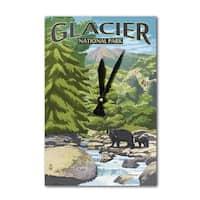 Glacier Park MT Black Bears & Stream - LP Artwork (Acrylic Wall Clock) - acrylic wall clock