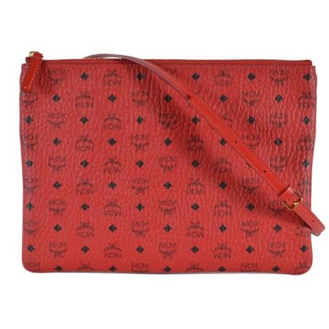 eb5b78e88b17fd MCM Ruby Red Coated Canvas Visetos Medium Crossbody Flat Purse Pouch Bag