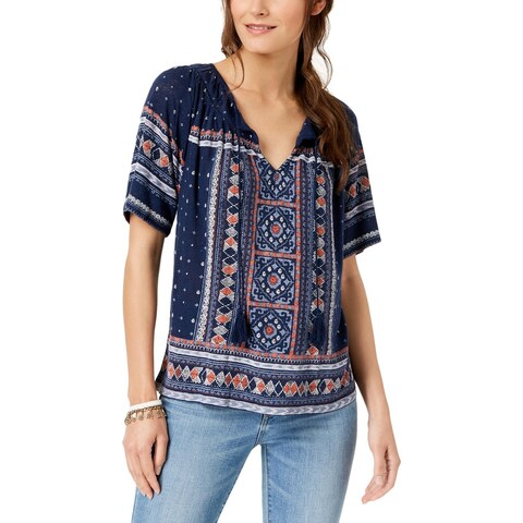Lucky Brand Womens Plus Peasant Top Pattern Tassel