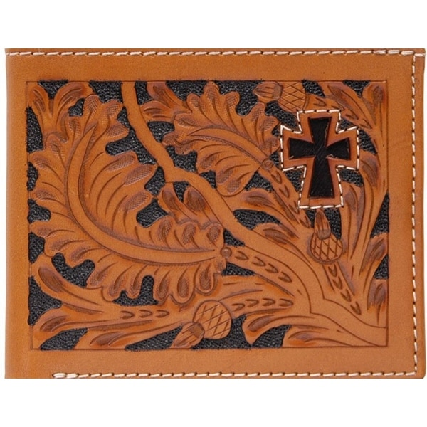3D Wallet Mens Leather Bifold Tooled Acorn Cross Hair - One size