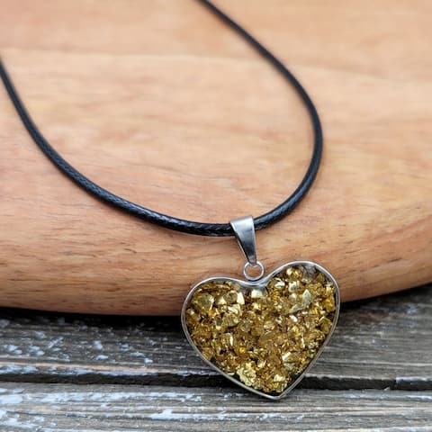 Gold Pyrite stone captured in Resin Heart Pendant Necklace