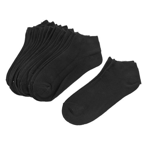 Unique Bargains Black Stretchy Cuff Low Cut Ankle Socks 10 Pairs for Woman