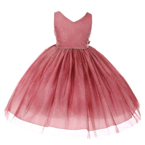 330558ce6 Shop Chic Baby Little Girls Burgundy Glitter Tulle Overlay Special Occasion  Dress - Free Shipping On Orders Over $45 - Overstock - 18164403