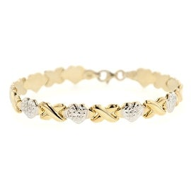STERLING SILVER TWO-TONE STAMPATO XOXO FRIENDSHIP/RELATIONSHIP BRACELET