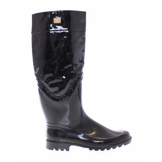 Dolce & Gabbana Black Rubber Leather Rain Boots Shoes - 36