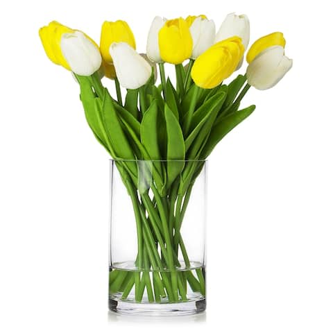 Enova Home 20 Pieces Artificial Real Touch Tulips Flower Arrangement in Glass Vase With Faux Water
