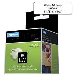 DYMO 30251 LW White Address Labels, 1-1/8 x 3-1/2 Inches, White, Pack of 2