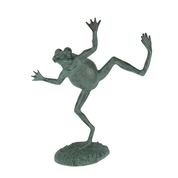 Verdigris Finish Dancing Frog Spitter Statue - 22.25 X 18.5 X 9 inches