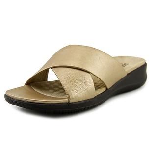 Softwalk Tillman Women  Open Toe Leather Gold Slides Sandal