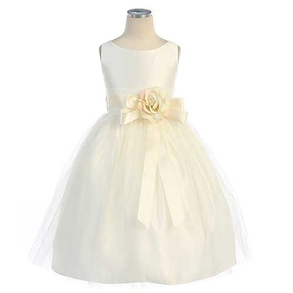 Sweet Kids Baby Girls Size 12M Ivory Tulle Easter Flower Girl Dress