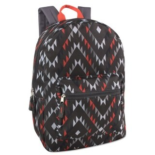 "Girls Black Grey Red Triangle Print Zippered Pocket Backpack 15""x10.6""x5"" - One size"