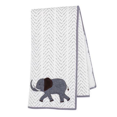 Lambs & Ivy Linen Safari Gray Minky Elephant Baby Blanket