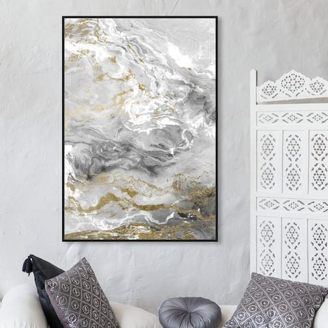 Oliver Gal 'Grazie Mille' Abstract Wall Art Framed Canvas Print Crystals - Gray, Gold