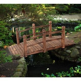 Costway 5u0027 Wooden Bridge Stained Finish Decorative Solid Wood Garden Pond  Arch Walkway
