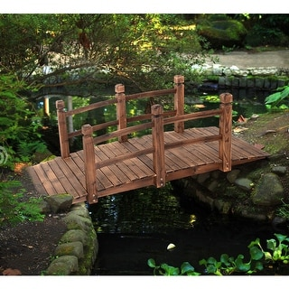 Costway 5u0027 Wooden Bridge Stained Finish Decorative Solid Wood Garden Pond  Arch Walkway