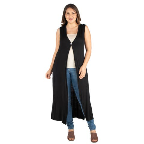 24seven Comfort Apparel Plus Size Cardigan Duster