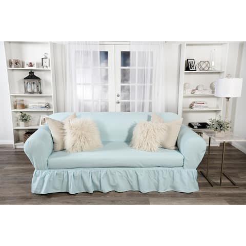 Washed cotton Ruffled 2 piece loveseat slipcover