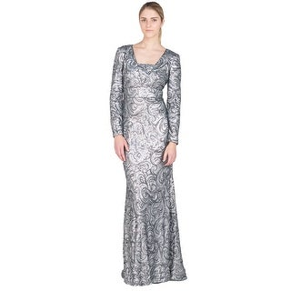 Badgley Mischka Charcoal Long Sleeve Swirl Sequin Evening Gown Dress