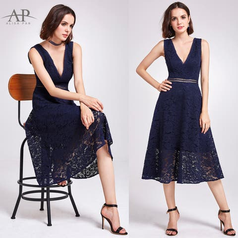 Ever-Pretty Womens A-Line Sexy V Neck Lace Evening Party Cocktail Dress 05919