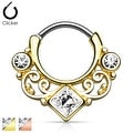 Lace Swirl Gem w/ Square CZ Center Gold IP Septum Clicker (Sold Ind.) - Thumbnail 0