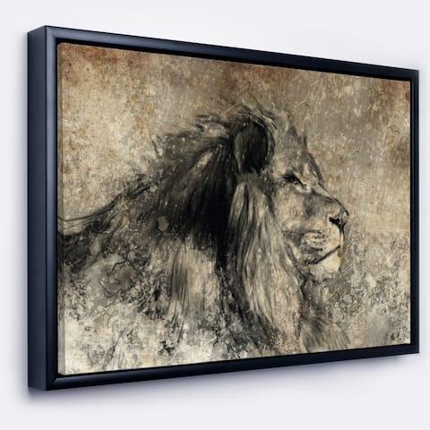 Designart 'Lion in Sepia' Animal Framed Canvas Art Print