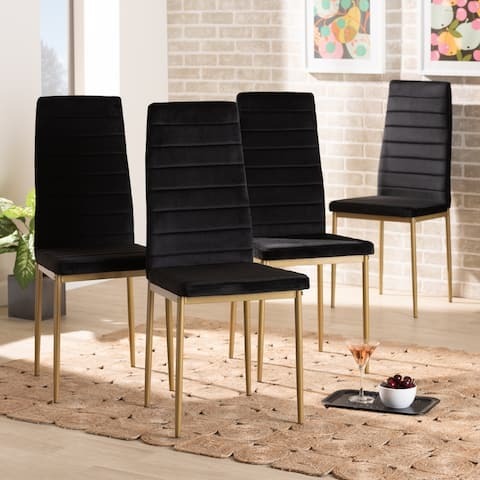 Armand Modern Glam and Luxe Fabric and Metal Dining Chair Set (4PC)