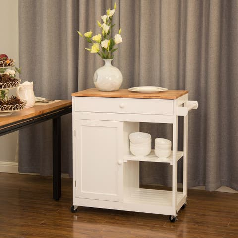 "Glitzhome 35""H Modern 2 shelf Kitchen Island Cart with Rubber Wooden Top"