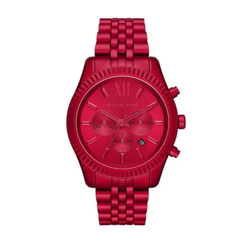 Michael Kors Men's Chronograph Lexington Red Aluminum Bracelet Watch