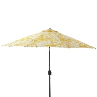 9' Yellow and White Paisley Swirl Patio Market Umbrella with Hand Crank and Tilt