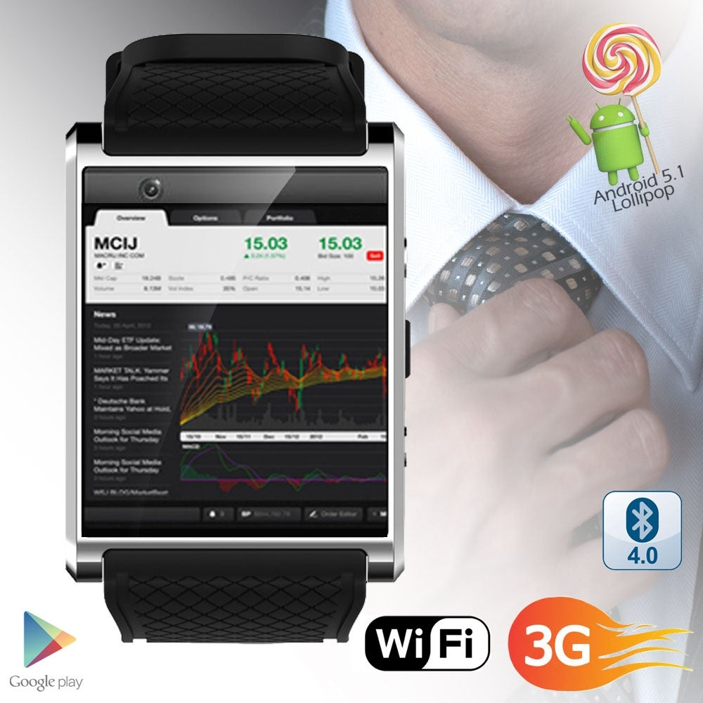 NEW Indigi® 2018 1.54-inch OLED Android 5.1 OS SmartWatch (QuadCore CPU - 512mb RAM - Google Play Store w/ WiFi - black - Thumbnail 0