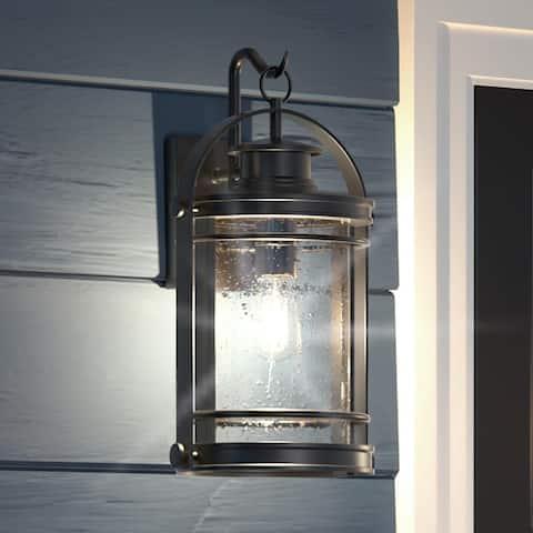 "Luxury Nautical Outdoor Wall Light, 18.25""H x 10.75""W, with American Bunglalow Style, Black Silk, UQL1432 by Urban Ambiance"