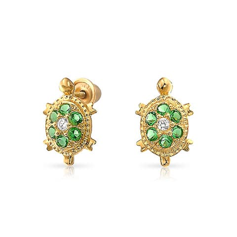 Tiny Green Nautical Sea Turtle Stud Earrings For Women For Teen Cubic Zirconia 14K Real Gold Screwback