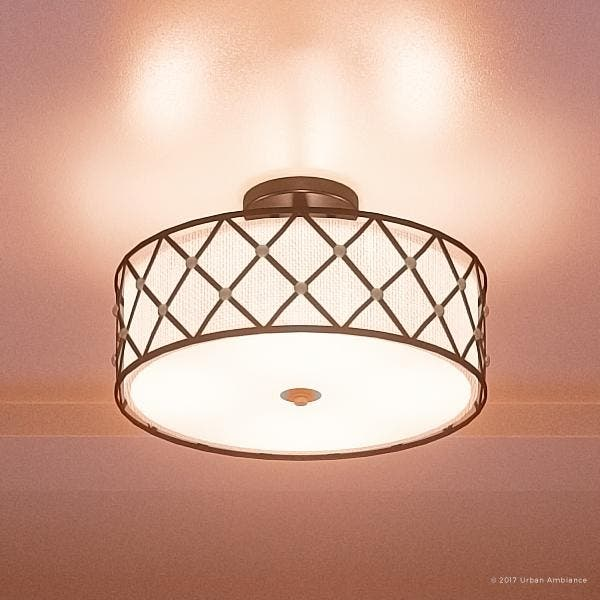 Luxury Art Deco Semi Flush Ceiling Light 11 H X 17 W
