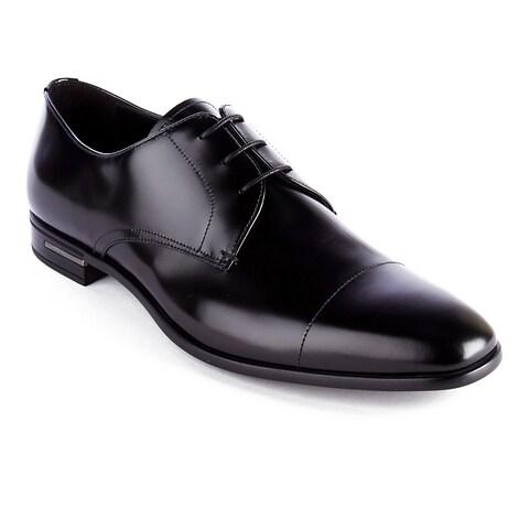 Prada Men's Brushed Leather Oxford Dress Shoes Black