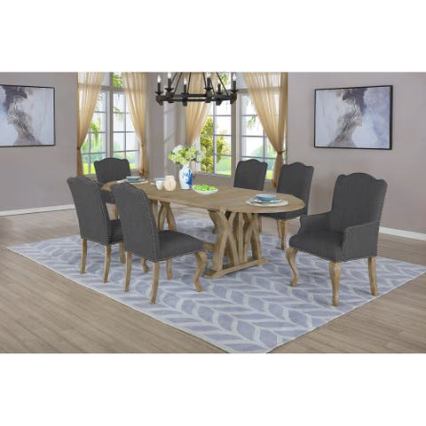 """Best Quality Furniture 7 piece 18""""Extension Set w/Arm & Side Chairs"""