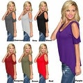 Women Casual Off the Shoulder Short Sleeve Loose Jersey Tunic Top - Thumbnail 6