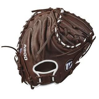 "Wilson 34"" A900 Catcher's Baseball Mitt (Dark Brown/White/ Right Hand Throw)"