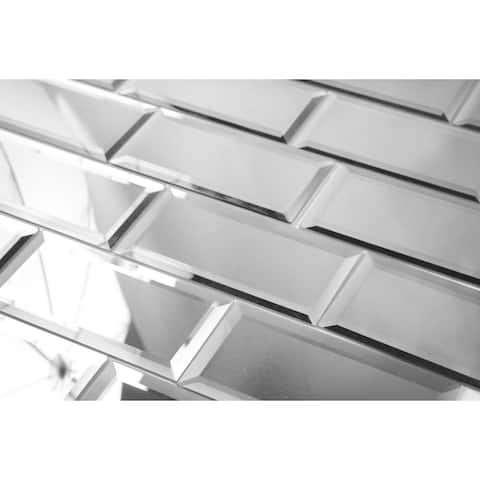 """Miseno MT-WHSREF0306-SI Reflections - 3"""" x 6"""" Rectangle Wall Tile with - Silver"""