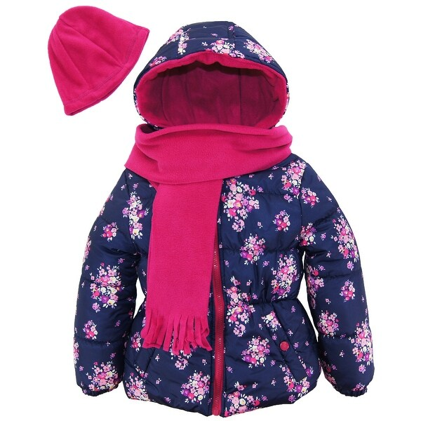84f9aa6f9 Shop Pink Platinum Toddler Girl Floral Print Winter Puffer Jacket with  Scarf and Hat - Free Shipping On Orders Over $45 - Overstock - 18962525