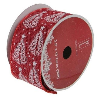 """Cranberry Red and White Trees Burlap Wired Christmas Craft Ribbon 2.5"""" x 10 Yards"""
