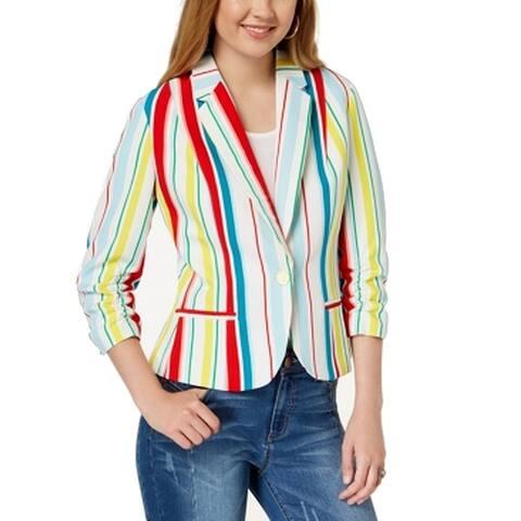 XOXO White Size XS Junior One-Button Striped Ruched Sleeve Blazer