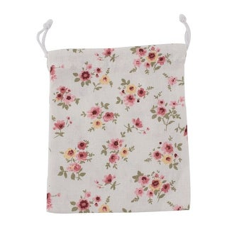 Home Travel Cotton Linen Flower Pattern Storage Packing Bag Drawstring Pouch