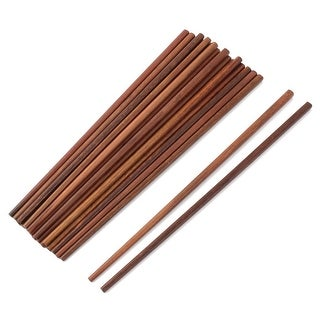 Family Kitchen Wood Tableware Non-slip Dinner Lunch Chopstick Brown 10 Pairs